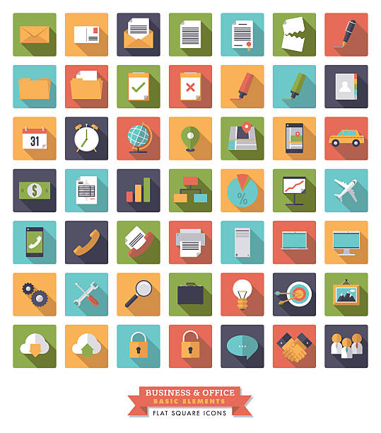 Business and Office Flat design long shadow icon set vector art illustration