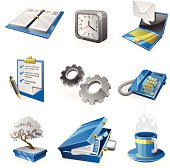 Business and office icon set in blue and gray