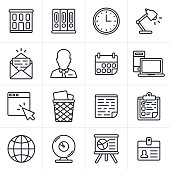 Business and office line drawing icons and symbol collection. Includes office building, file binders, clock, lamp, email and mail. Also includes business person, calendar, communication and mobile devices. Symbols for web browser, trash can, note pad, clipboard, globe, webcam, presentation and identification card.
