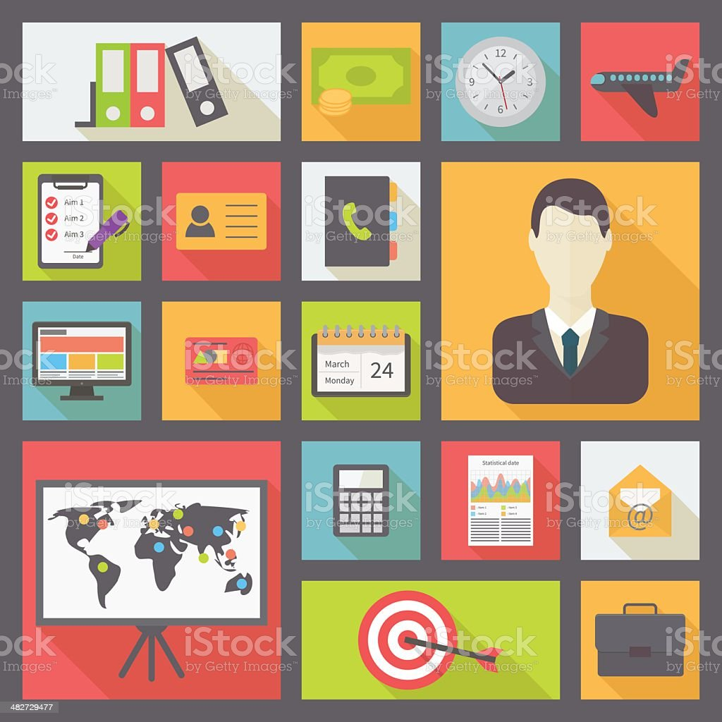 Business and office icons set, flat design vector vector art illustration