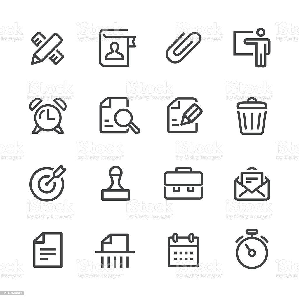 Bureaux et affaires icônes Set-Série de ligne - Illustration vectorielle