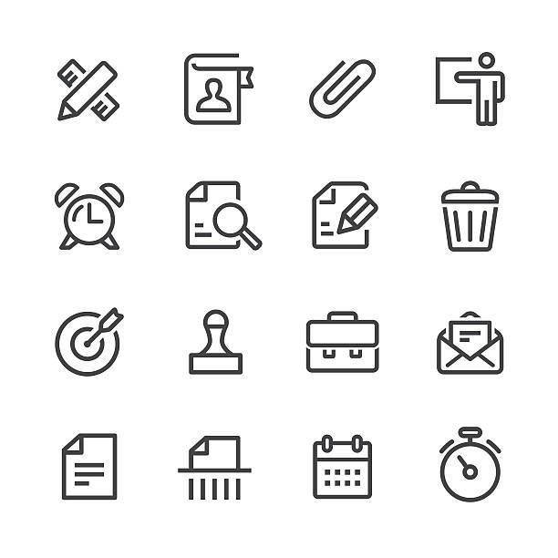 비즈니스 및 부서 아이콘 세트-line 시리즈 - 종이 클립 stock illustrations