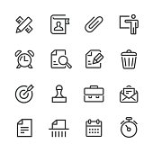 Business and Office Icons Set - Line Series