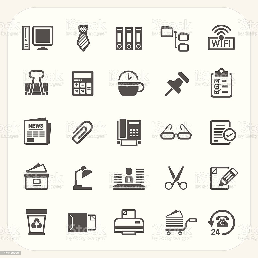 Business and Office icons set vector art illustration