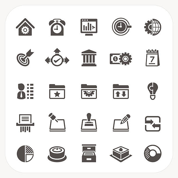 business and office icons set - dollar bill stock illustrations