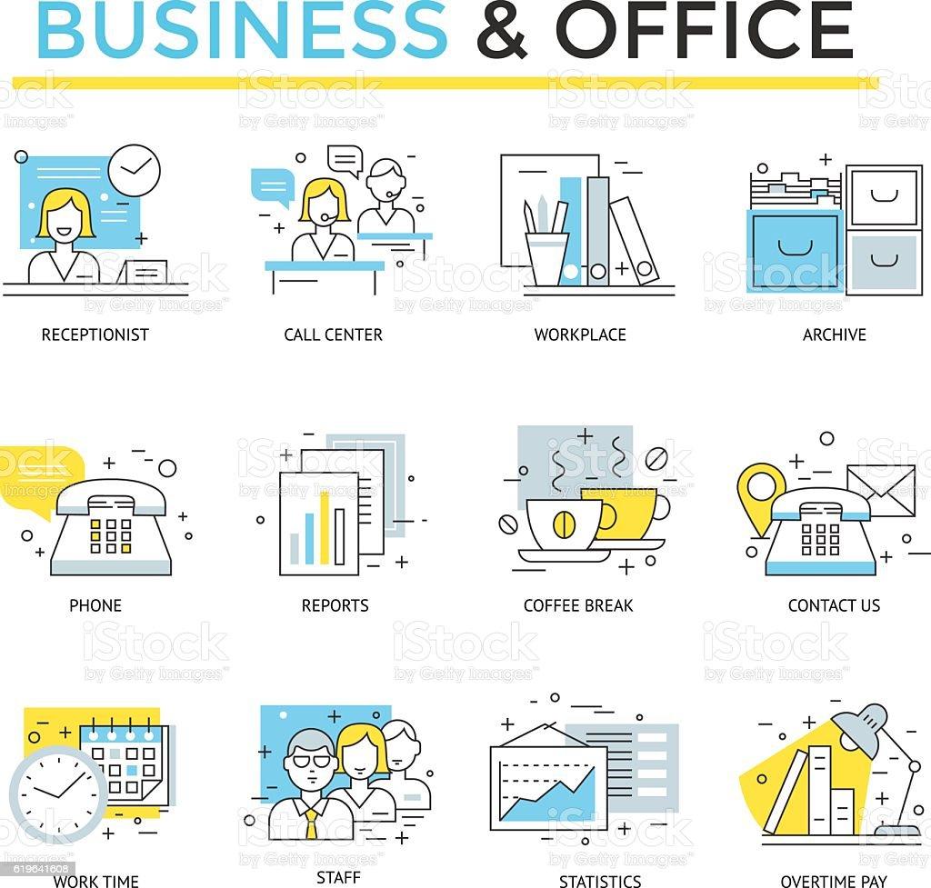 Iconos de negocio y oficina. - ilustración de arte vectorial