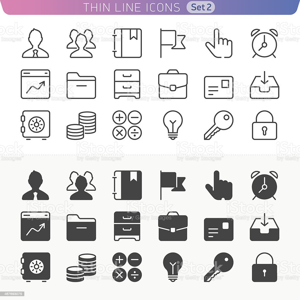 Business and office line icon set. royalty-free business and office line icon set stock illustration - download image now