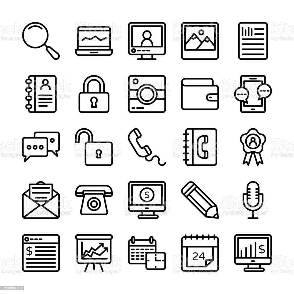商業和辦公室線向量圖示 19 免版稅 商業和辦公室線向量圖示 19 向量插圖及更多 互聯網 圖片