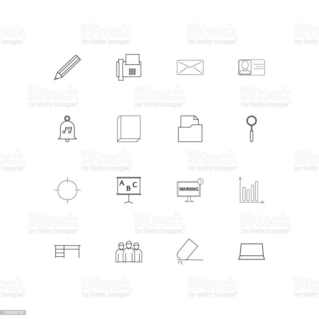 Business und Office lineare dünne Symbole festgelegt. Beschriebenen einfachen Vektor-icons - Lizenzfrei Aserbaidschan Vektorgrafik