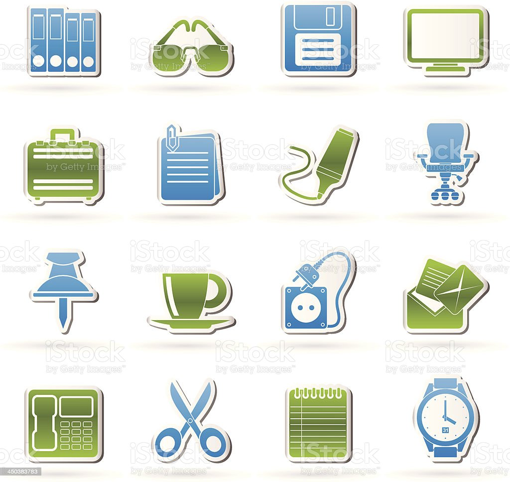 Business and office objects icons royalty-free stock vector art