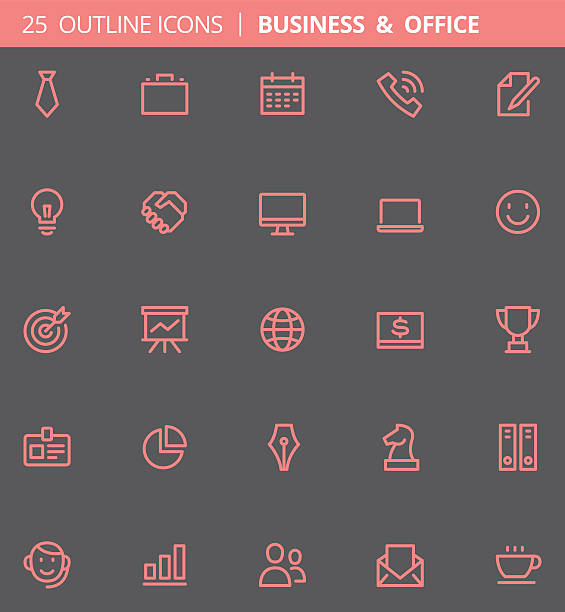 business and office outline icons (set of 25) - pc spielfigur stock-grafiken, -clipart, -cartoons und -symbole