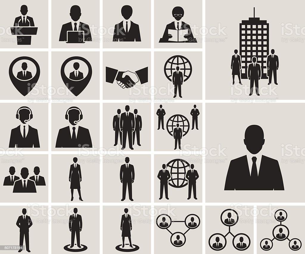I biurze ludzie biznesu, zarządzania i zasobów ludzkich zestaw ikon wektorowych – artystyczna grafika wektorowa