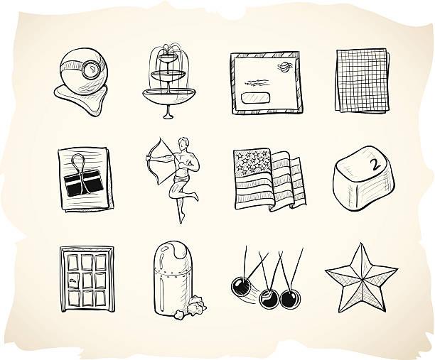 illustrations, cliparts, dessins animés et icônes de bureaux et affaires icônes de croquis 8 - camera sculpture