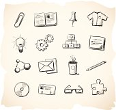 Sketch icons for office and business