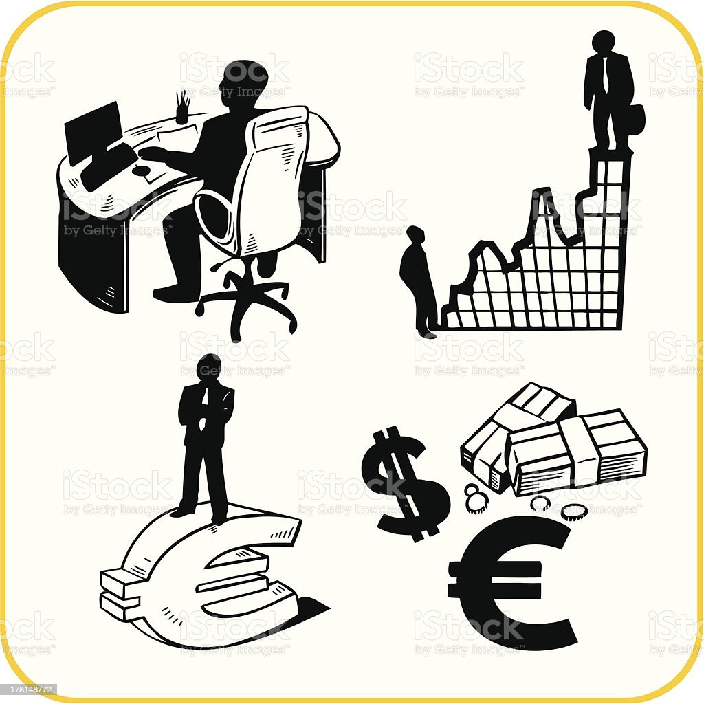 Business and office. Vector set. vector art illustration