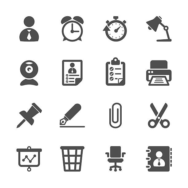 ビジネスおよびオフィス作業のアイコンセットベクトル eps 10 を - 金融と経済点のイラスト素材/クリップアート素材/マンガ素材/アイコン素材