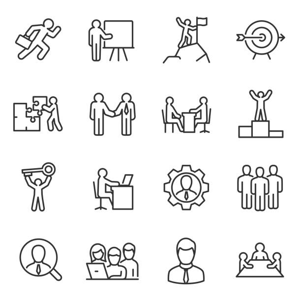 business and people linear icons set. work and success. line with editable stroke - stopnie do sukcesu stock illustrations