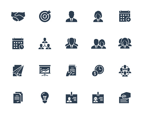 Business and People Vector Icon Set in Glyph Style with Such Icons as Businessperson, Handshake, Calendar, Management, Hierarchy, Team, ID, Contract and Others