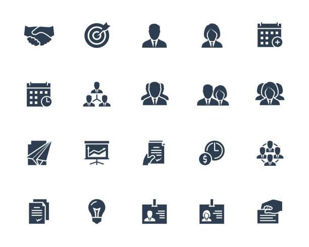 ilustrações, clipart, desenhos animados e ícones de ícone do vetor do negócio e dos povos ajustado no estilo do glyph com ícones como businessperson, aperto de mão, calendário, gerência, hierarquia, equipe, identificação, contrato e outro - business man