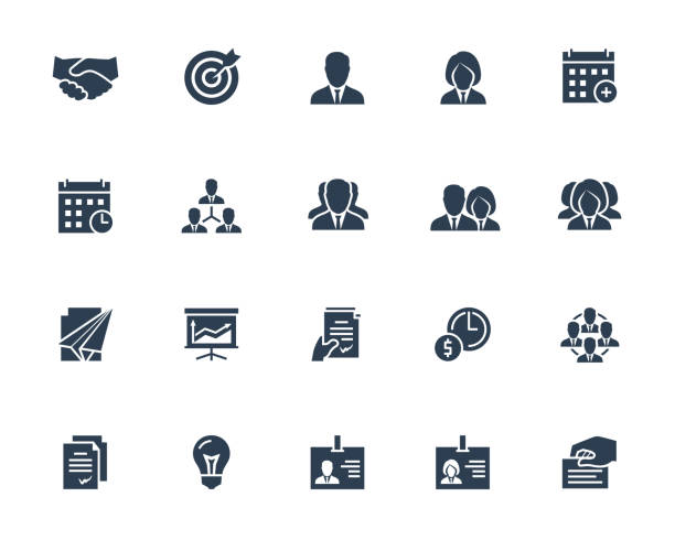ilustrações de stock, clip art, desenhos animados e ícones de business and people vector icon set in glyph style with such icons as businessperson, handshake, calendar, management, hierarchy, team, id, contract and others - contacts