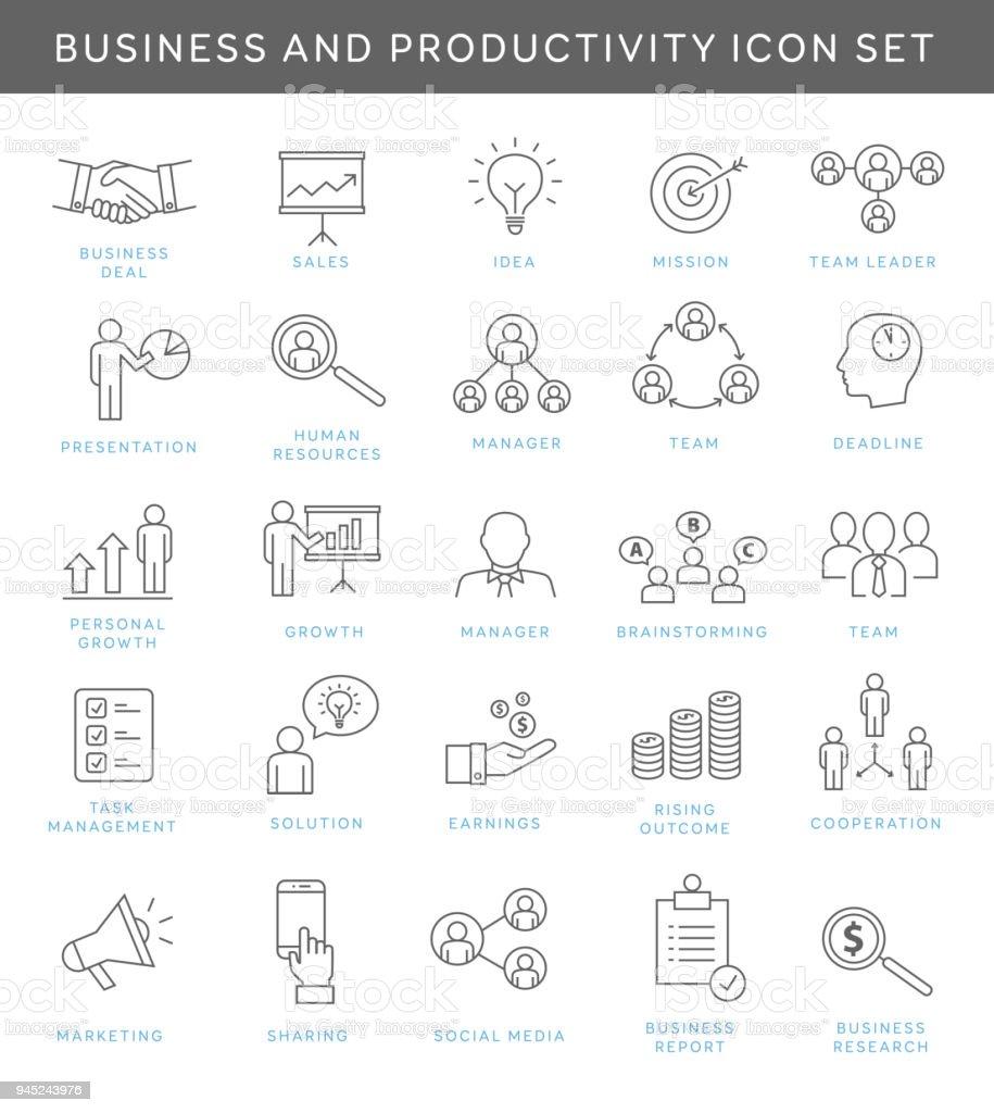 Negocio y productividad los iconos - ilustración de arte vectorial