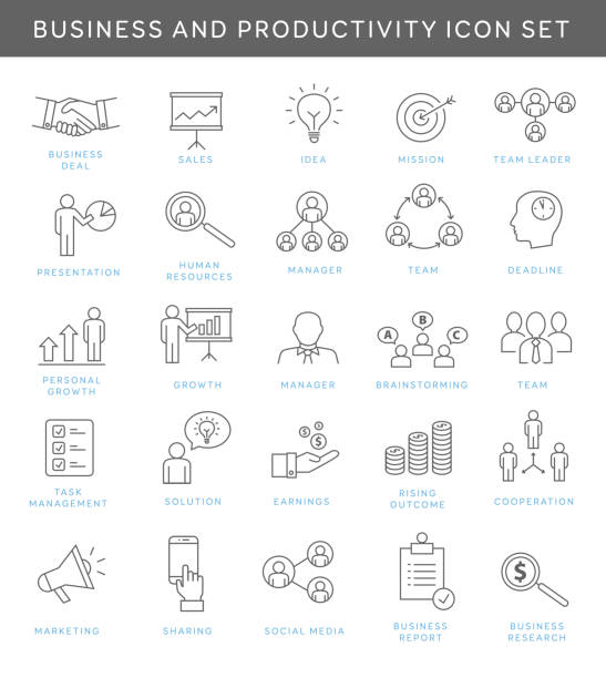 business and productivity icons - thin line icons stock illustrations, clip art, cartoons, & icons