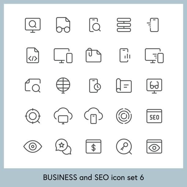 geschäfts- und seo symbolsatz 6 - korrekturlesen stock-grafiken, -clipart, -cartoons und -symbole