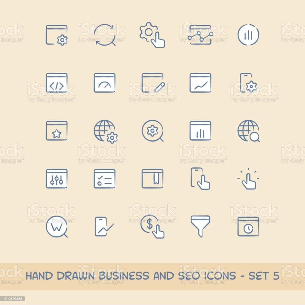 Business and SEO icons set 5 vector art illustration