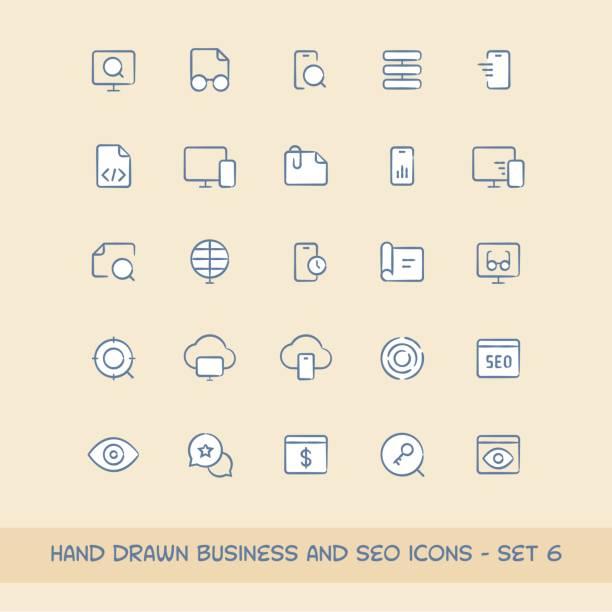 geschäft und seo icons set 6 - korrekturlesen stock-grafiken, -clipart, -cartoons und -symbole