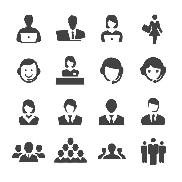business and service icons - acme series - supervisor stock illustrations, clip art, cartoons, & icons