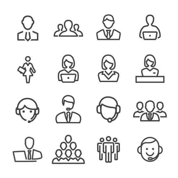 ilustrações, clipart, desenhos animados e ícones de negócios e serviço ícones - linha série - business man