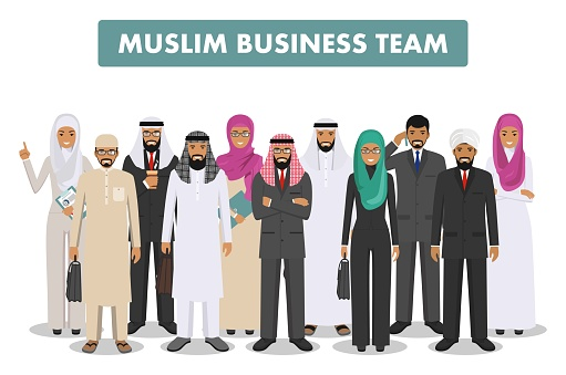 Business and social concept. Group young muslim people standing together in different traditional islamic clothes on white background in flat style. Arab businessman and businesswoman. Vector.