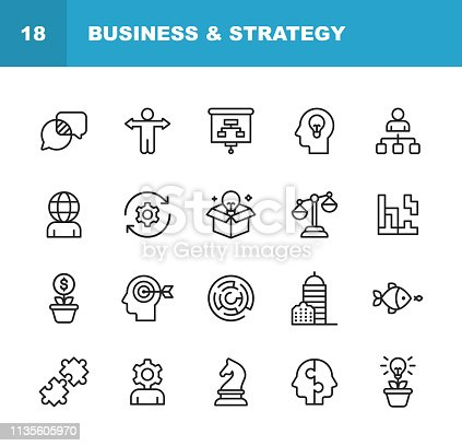 20 Business and Strategy Line Icons.