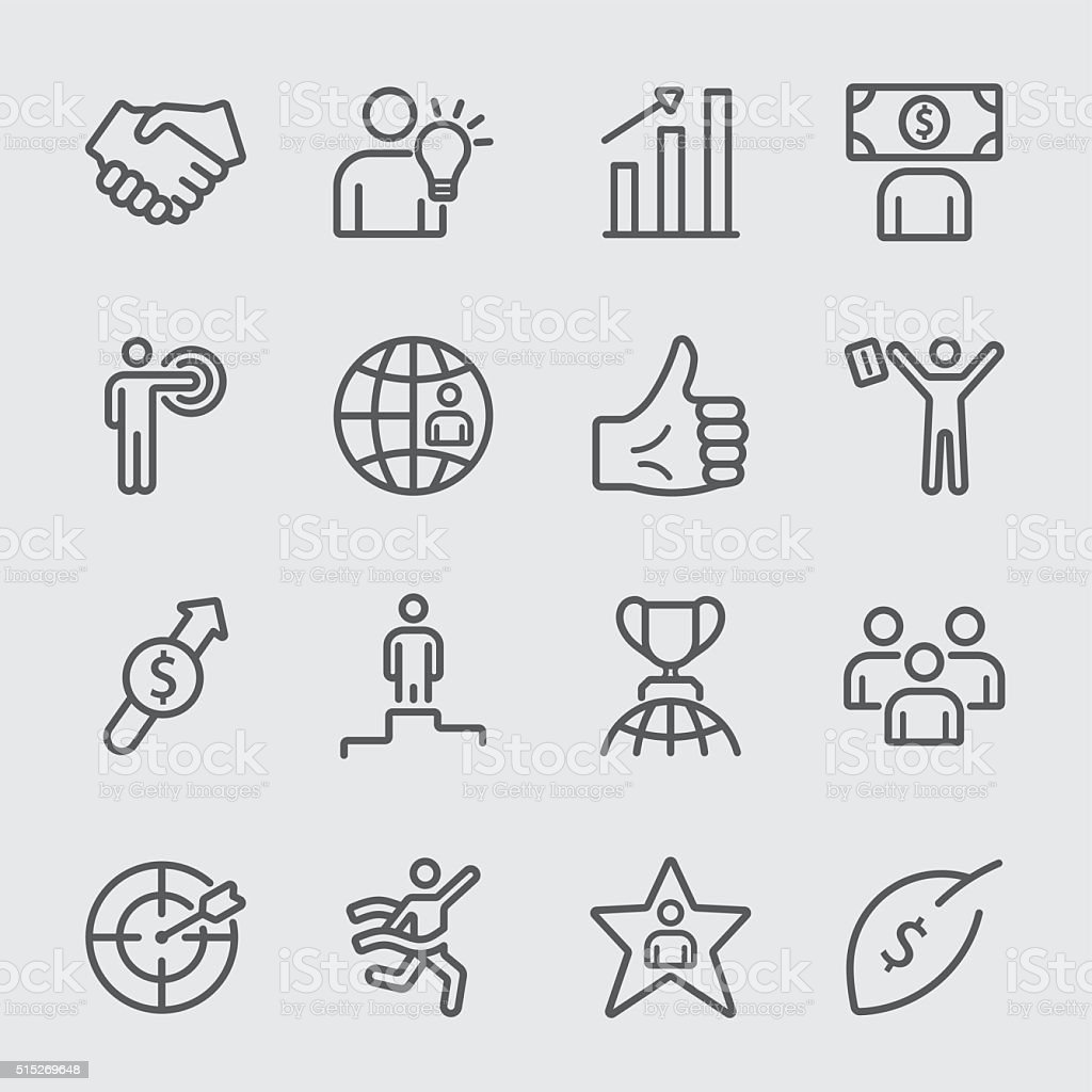 Business and Success line icon vector art illustration