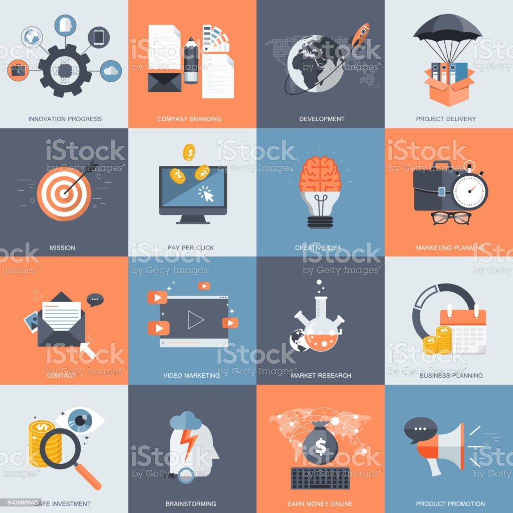 Business Und Technologie Symbolsatz Für Websites Und Mobile ...