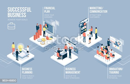 Business and technology infographic with corporate people working together on app buttons and business concepts