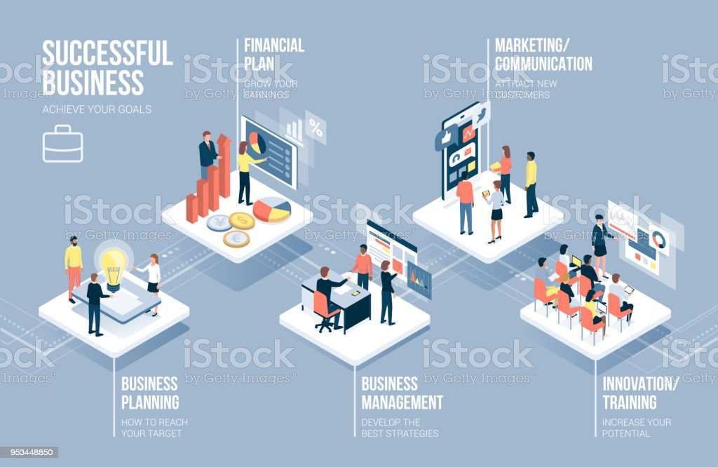 Business and technology infographic vector art illustration