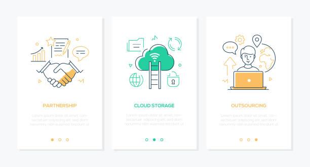 Business und Technik-Satz von Linie Design Stil vertikale Webbanner – Vektorgrafik