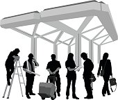 A vector silhouette illustration of people dressed as and working various trades and professional careers including construction foreman, delivery man, business woman, nurse, and builder.