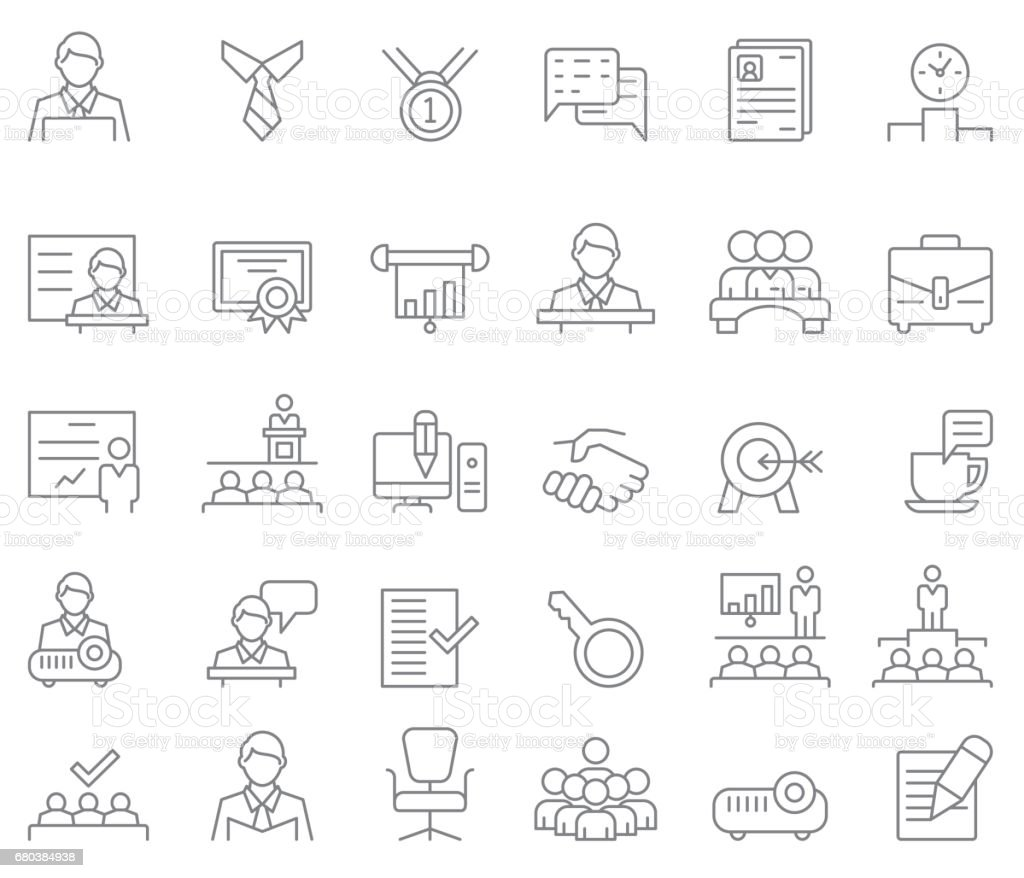 Business and training icon set vector art illustration