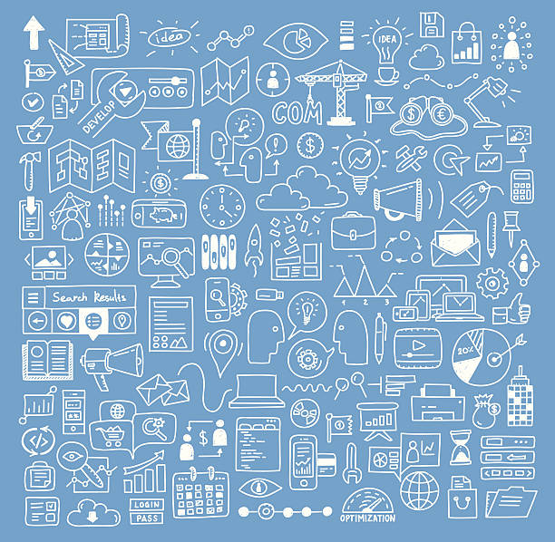 Business and website development doodles elements Hand drawn vector illustration icons set of business strategy, brainstorming and website development doodles elements. Isolated on dark blue background. brainstorming stock illustrations