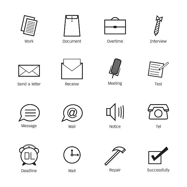 Business and work Icons. Vector illustration Business and work Icons. Vector illustration interview event stock illustrations