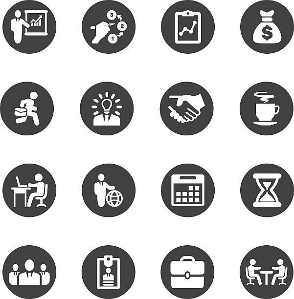 ビジネスおよびワークフローのサークルシルエットアイコン/eps 10 を - トレーニングのカレンダー点のイラスト素材/クリップアート素材/マンガ素材/アイコン素材