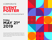 Business Announcement Vector Card. Event Poster Template with Colorful Geometric Shape. Commercial Advertisement Backdrop. Web Seminar, Business Conference, Webinar Abstract Background. Modern Design.