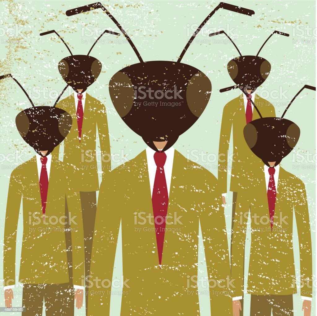 Business ant team leadership company men vector art illustration