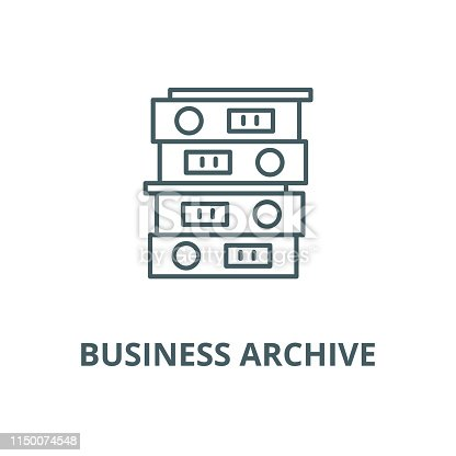Business archive vector line icon, outline concept, linear sign