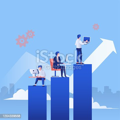 Business arrow concept with businessman  working with their  computer and laptop on the graph. grow chart up increase profit sales and investment vector