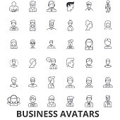 Business avatars, businessman, businesswoman, team, group, people, users line icons. Editable strokes. Flat design vector illustration symbol concept. Linear signs isolated