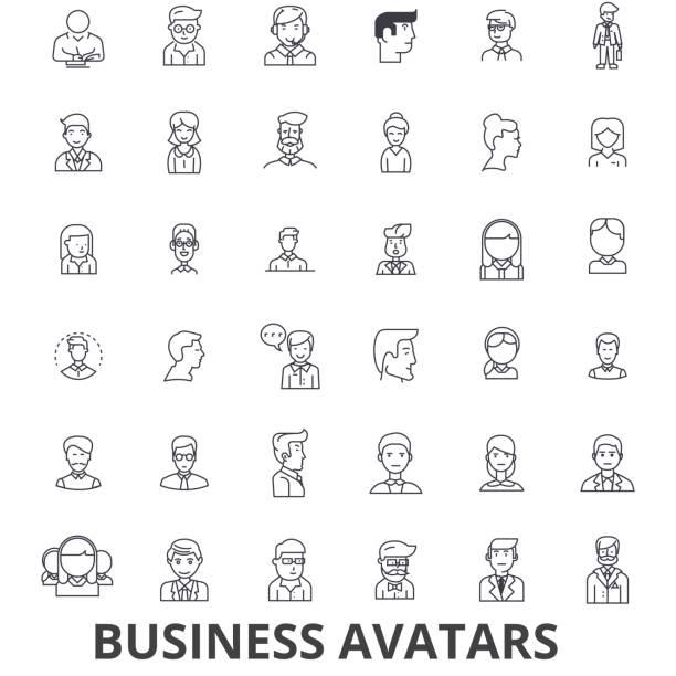 stockillustraties, clipart, cartoons en iconen met zakelijke avatars, zakenman, zakenvrouw, team, groep, mensen, pictogrammen van de lijn van de gebruikers. bewerkbare lijnen. platte vector illustratie symbool ontwerpconcept. lineaire tekenen geïsoleerd - jonge mannen