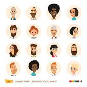 Business avatars collection. Cartoon graphic style